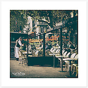 Café, Paris, France - Colour version. Inkjet pigment print on Canson Infinity Rag Photographique 310gsm 100% cotton museum grade Fine Art and photo paper.<br />