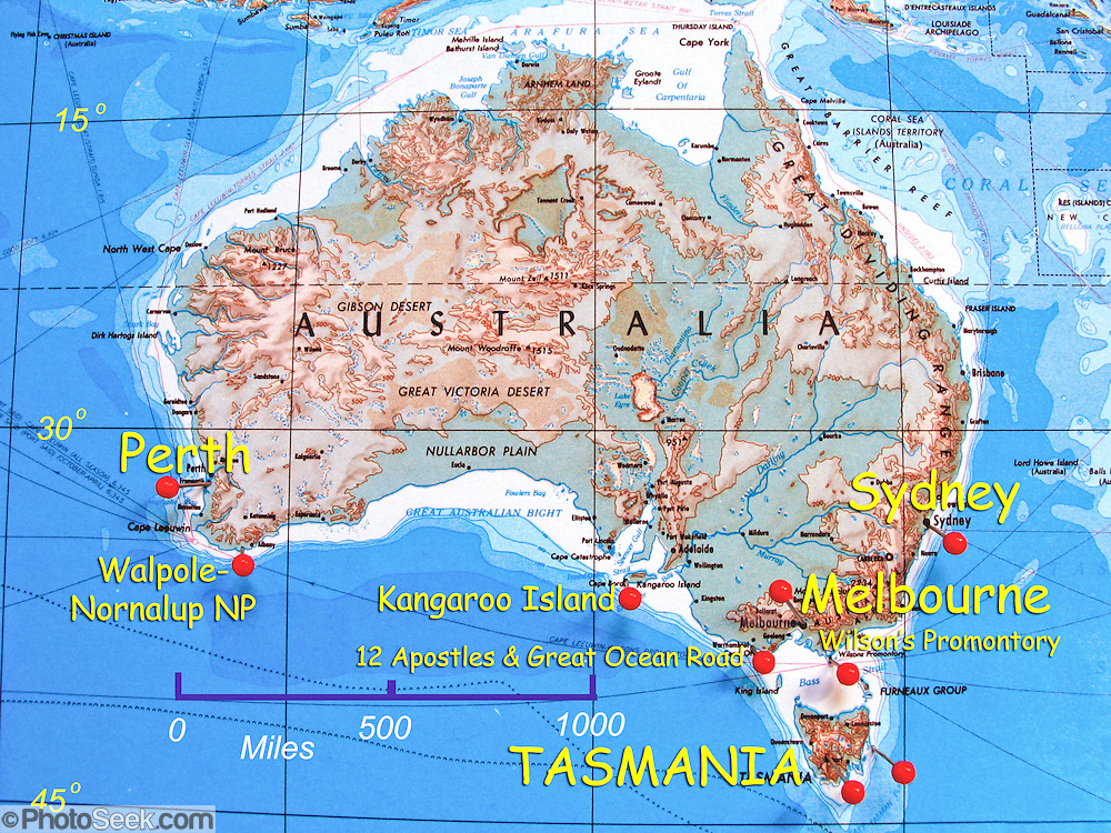 physical geography map of australia labeled with sydney melbourne tasmania perth