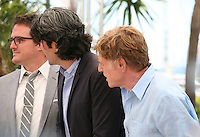 Producer, Neal Dodson, Actor Robert Redford and Director J.C Chandor, at the All Is Lost film photocall Cannes Film Festival on Wednesday 22nd May 2013