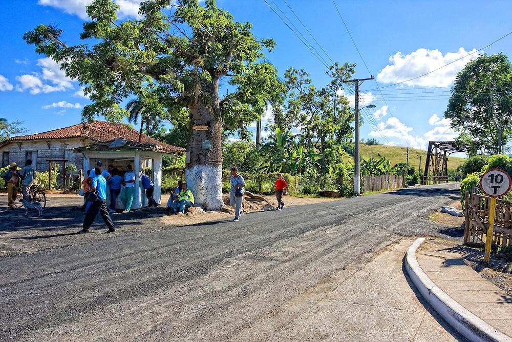 Bus stop in Puente de Cabezas, Pinar del Rio, Cuba.
