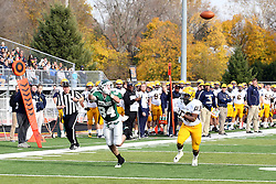 12 November 2011:  Mike Sloboda hustles to meet the ball passed his direction by TRob Gallik during an NCAA division 3 football game between the Augustana Vikings and the Illinois Wesleyan Titans in Tucci Stadium on Wilder Field, Bloomington IL