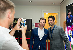 Dare Vrsic and Antonio De Oliveira, assistant coach of NK Rudar from Portugal during SPINS XI Nogometna Gala 2017 event when presented best football players of Prva liga Telekom Slovenije in season 2016/17, on May 23, 2017 in Grand hotel Union, Ljubljana, Slovenia. Photo by Vid Ponikvar / Sportida