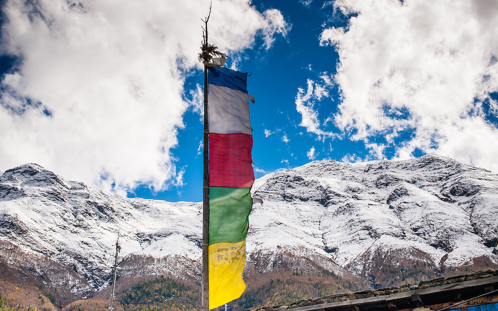 Buddhist flag in the Himalayas (Nepal)