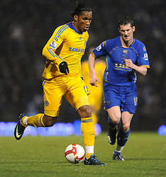 Goal scorer and match winner Didier Drogba (Chelsea)  runs with the ball during the Barclays Premier League match between Portsmouth and Chelsea at Fratton Park on March 3, 2009 in Portsmouth, England.