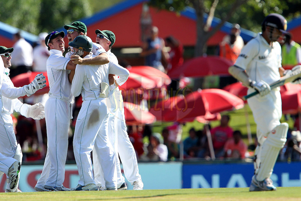South Africa celebrate the wicket of Gautam Gambhir of India during day 1 of the first ( 1st ) Test Match between South Africa and India held at Supersport Park in Centurion, Gauteng, South Africa on the 16th December 2010..Photo by Ron Gaunt/BCCI/SPORTZPICS