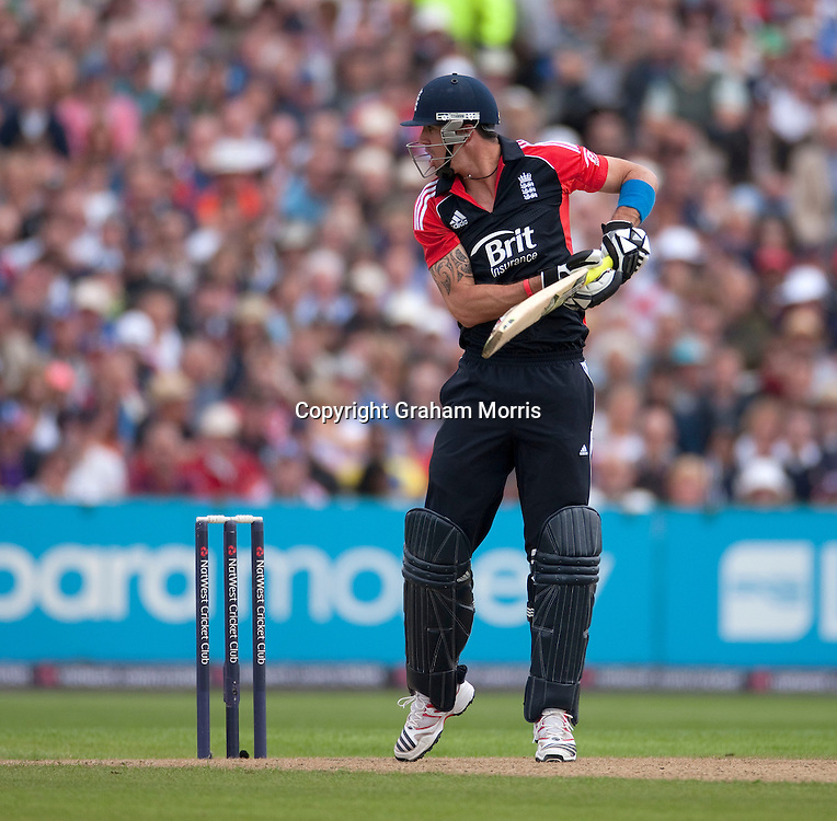 Kevin Pietersen looks back as he's caught during the fifth and final one day international between England and Sri Lanka at Old Trafford, Manchester. Photo: Graham Morris (Tel: +44(0)20 8969 4192 Email: sales@cricketpix.com) 06/07/11