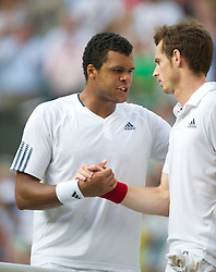 LONDON, ENGLAND - Wednesday, June 30, 2010: Jo-Wilfried Tsonga (FRA) and Andy Murray (GBR) after the Gentlemen's Singles Quarter-Final on day nine of the Wimbledon Lawn Tennis Championships at the All England Lawn Tennis and Croquet Club. (Pic by David Rawcliffe/Propaganda)