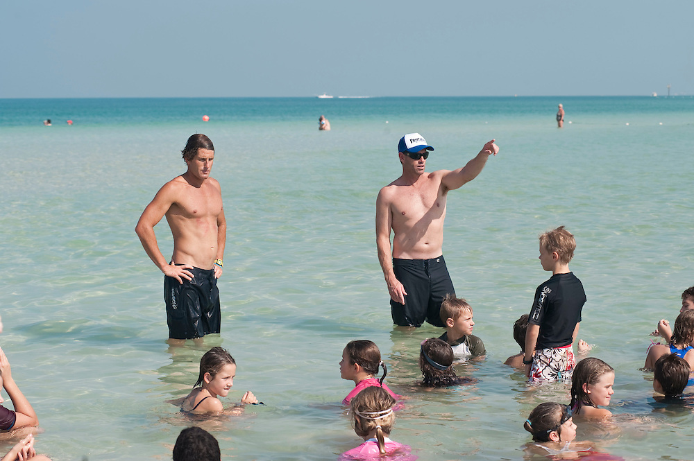 "Bondi Rescue Guards train children in sea rescue in Dubai on Saturday, Oct30, 2010 . Lifeguards featured: (l) Anthony ""Harries"" Carroll and Bruce ""Hoppo"" Hopkins."