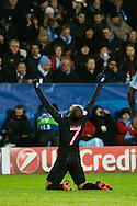 25.11.2015. Malm&ouml;, Sweden. <br /> Lucas of Paris celebrates after scoring their fifth goal during their UEFA Champions League match against Malm&ouml; FF at the Malm&ouml; Stadium. <br /> Photo: &copy; Ricardo Ramirez.