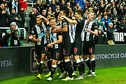 Isaac Hayden (#14) of Newcastle United celebrates scoring Newcastle United's first goal (1-0) with Newcastle United team mates during the Premier League match between Newcastle United and Chelsea at St. James's Park, Newcastle, England on 18 January 2020.