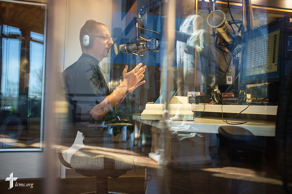 The Rev. Will Weedon, chaplain of the International Center of The Lutheran Church–Missouri Synod, hosts his radio program 'Thy Strong Word' at KFUO on Tuesday, March 29, 2016, in Kirkwood, Mo. LCMS Communications/Erik M. Lunsford
