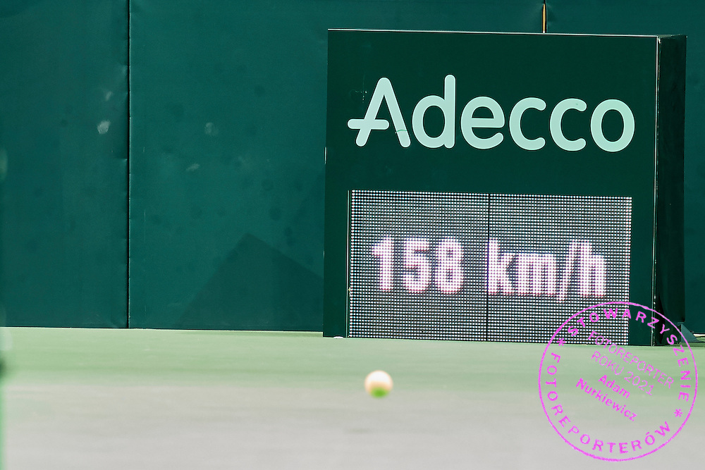 Adecco advertise and speed control during Davis Cup Tie World Group Play-off Poland v Slovakia at Gdynia Arena Hall in Gdynia, Poland.<br /> <br /> Poland, Gdynia, September 20, 2015<br /> <br /> Picture also available in RAW (NEF) or TIFF format on special request.<br /> <br /> For editorial use only. Any commercial or promotional use requires permission.<br /> <br /> Adam Nurkiewicz declares that he has no rights to the image of people at the photographs of his authorship.<br /> <br /> Mandatory credit:<br /> Photo by &copy; Adam Nurkiewicz / Mediasport