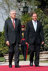 20.03.2012, Villa Pamphilj, Rom, ITA, Treffen der Praesidenten von Italien und Malta, im Bild Mario Monti e George Abela // during a sMeeting beetween Italian Premier and President of Republic of Malta at Villa Pamphilj, Rome, Italy on 2012/03/20. EXPA Pictures © 2012, PhotoCredit: EXPA/ Insidefoto/ Samantha Zucchi ..***** ATTENTION - for AUT, SLO, CRO, SRB, SUI and SWE only *****