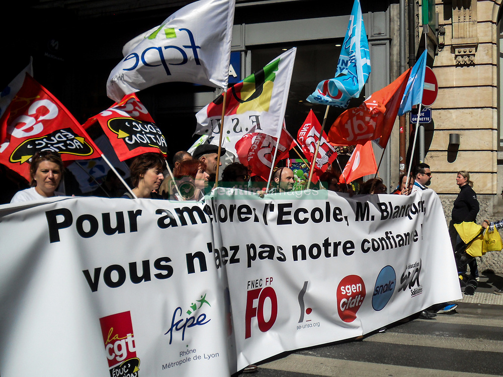 March 30, 2019 - Lyon, France - Demonstration against educational reform in Lyon, France, on March 30, 2019. (Credit Image: © Nicolas Liponne/NurPhoto via ZUMA Press)