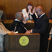 Detroit Mayor, Ken Cockrel, Jr, takes his oath of office at the City County Building auditorium on Friday, September 19, 2008