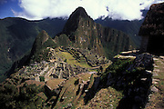 The ruined Incan city of Machu Picchu, high in the Andes above Cuzco.