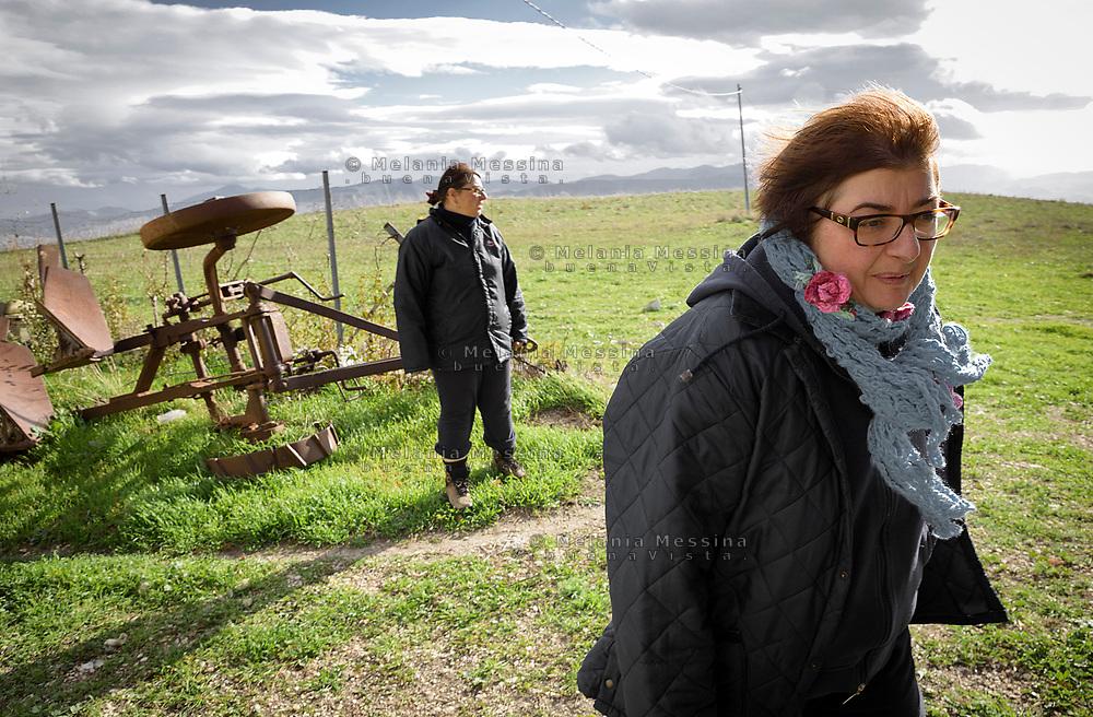 Mezzojuso, azienda agricola delle sorelle Napoli, Ina e Irene Napoli.<br /> Mezzojuso, Sicily, Napoli sisters farm, Ina and Irene.
