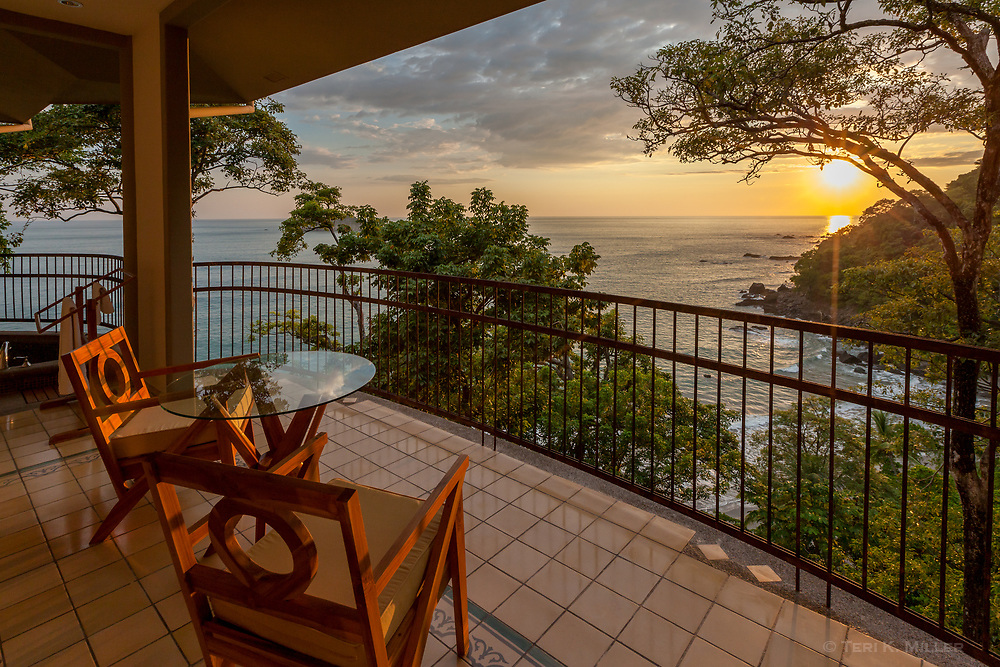 Room with a view at sunset at Arenas del Mar, Manuel Antonio, Costa Rica.