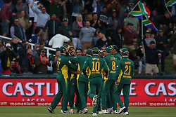Imran Tahir of South Africa is congratulated for bowling Australia captain Steve Smith during the 5th ODI match between South Africa and Australia held at Newlands Stadium in Cape Town, South Africa on the 12th October  2016<br /> <br /> Photo by: Shaun Roy/ RealTime Images