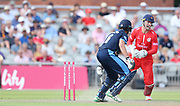 Lancashires Dane Vilas (Wicket Keeper) stumps Derbyshires Calum MacLeod during the Vitality T20 Blast North Group match between Lancashire Lightning and Derbyshire Falcons at the Emirates, Old Trafford, Manchester, United Kingdom on 14 July 2018. Picture by George Franks.
