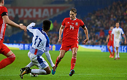 CARDIFF, WALES - Tuesday, November 14, 2017: Wales' David Edwards is fouled by Panama's Luis Ovalle for a penalty during the international friendly match between Wales and Panama at the Cardiff City Stadium. (Pic by David Rawcliffe/Propaganda)