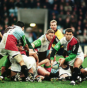 Twickenham, Hugh DAVIES, passing the ball out from the back of the scrum, Peter Spurrier Sports  Photo.email pictures@rowingpics.com.Tel 44 (0) 7973 819 551.Photo Peter Spurrier. Quins V L/IRISH 23-01-99.Hugh Davies