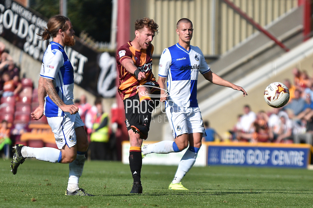 Bristol Rovers  forward Matt Taylor (10)  shoots during the EFL Sky Bet League 1 match between Bradford City and Bristol Rovers at the Coral Windows Stadium, Bradford, England on 17 September 2016. Photo by Mark Pollitt.