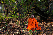 Bun Saluth in the Monks Community Forest that he protected from loggers, poachers and encroachment. This pioneer of the Buddhist environmental movement in Cambodia succeeded in 2002, despite having been threatened with his life, and was able to legally protect 18,261 hectares of evergreen forest now called the Monks Community Forest, which he still safeguards today. What he achieved spread and now monks across the country are working together with local people to stop environmental destruction.