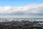 Nederland, Zuid-Holland, Rotterdam, 23-10-2013;  skyline Rotterdam gezien vanuit Rotterdam-Zuid. Stadion Feijenoord, De Kuip, in de voorgrond.<br /> Rotterdam skyline seen from the south of Rotterdam. Football Stadion Feyenoord, De Kuip, in the foreground.<br /> luchtfoto (toeslag op standard tarieven);<br /> aerial photo (additional fee required);<br /> copyright foto/photo Siebe Swart