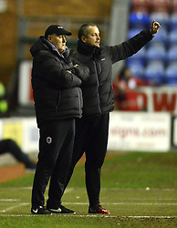 Cardiff City Manager, Russell Slade (L) and Assistant Scott Young issue instructions - Photo mandatory by-line: Richard Martin-Roberts/JMP - Mobile: 07966 386802 - 24/02/2015 - SPORT - Football - Wigan - DW Stadium - Wigan Athletic v Cardiff City - Sky Bet Championship