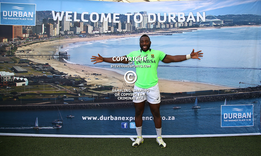 DURBAN, SOUTH AFRICA - AUGUST 21: Tendai Mtawarira during the South African national rugby team training session at Moses Mabhida Stadium on August 21, 2015 in Durban, South Africa. (Photo by Steve Haag/Gallo Images)
