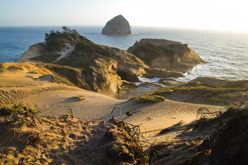 Kiwanda Point dune looking out to Haystack Rock. The Oregon Coast, a classic, beautiful road trip. Heading West from Portland to Tillamook, with a detour to the fishing village of Garibaldi, through Cape Lookout State Park and on to our final destination of Pacific City.