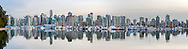 Panoramic photo of Vancouver's Coal Harbour from Stanley Park in Vancouver, British Columbia, Canada