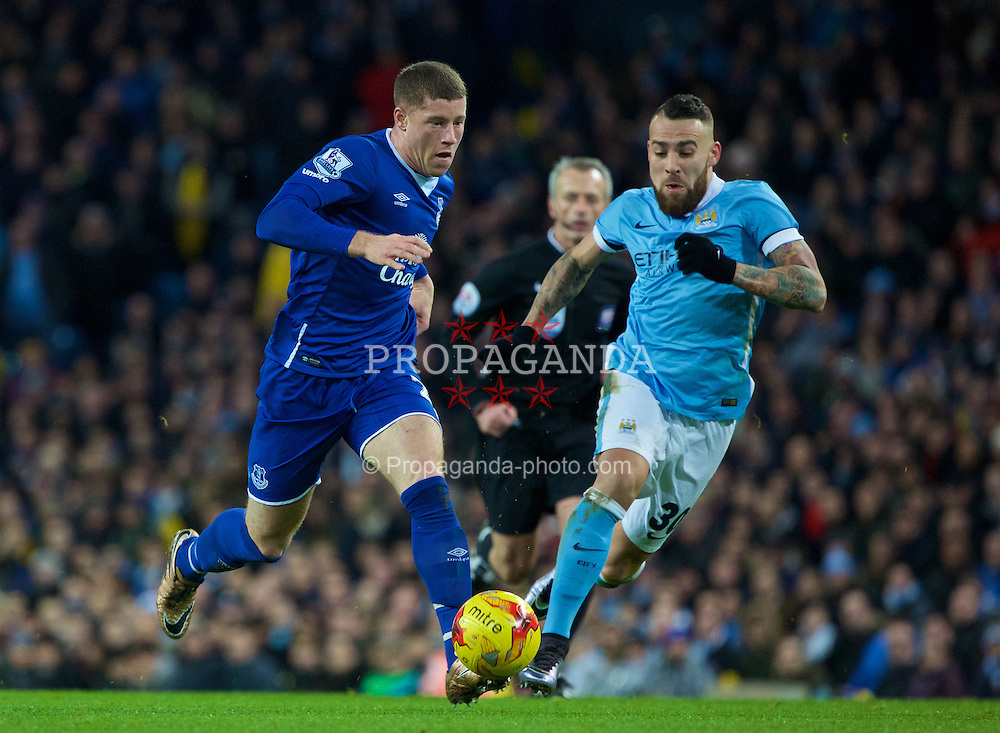 MANCHESTER, ENGLAND - Wednesday, January 27, 2016: Everton's Ross Barkley in action against Manchester City during the Football League Cup Semi-Final 2nd Leg match at the City of Manchester Stadium. (Pic by David Rawcliffe/Propaganda)