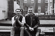 Mark Charnock and friend on the roof of Welbeck Street, London, UK, 1986.