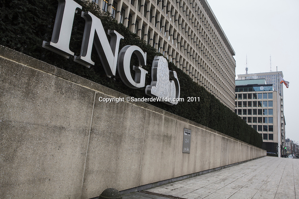The headquarters of the ING bank Belgium at Trone Square in Brussels. ING will be closing many offices and firing many of its employees, because of the financial crisis.