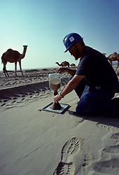 Sand testing in the desert of Saudi Arabia.
