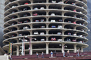 spiral parking towers at Marina City condominiums in Chicago designed by Bertrand Goldberg
