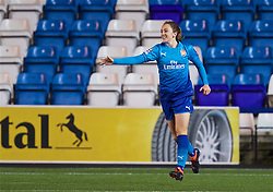 WIDNES, ENGLAND - Wednesday, February 7, 2018: Arsenal Ladies' Lisa Evans celebrates scoring the third goal during the FA Women's Super League 1 match between Liverpool Ladies FC and Arsenal Ladies FC at the Halton Stadium. (Pic by David Rawcliffe/Propaganda)