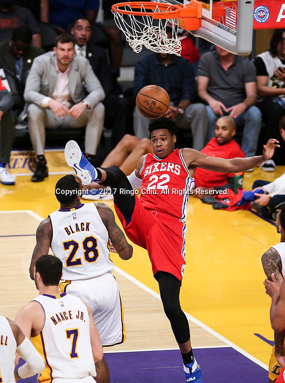 Philadelphia 76ers center Richaun Holmes (#22)  dunks against Los Angeles Lakers during an NBA basketball game Tuesday, March 12, 2017, in Los Angeles. <br /> (Photo by Ringo Chiu/PHOTOFORMULA.com)<br /> <br /> Usage Notes: This content is intended for editorial use only. For other uses, additional clearances may be required.