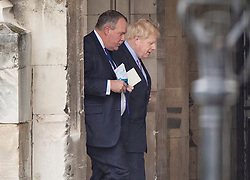© Licensed to London News Pictures. 18/06/2019. London, UK. Conservative Party leadership favourite Boris Johnson walks in Parliament ahead of the second round of leadership votes. Boris Johnson has cemented his position as favourite to become the next Prime Minster after winning a clear majority in the first round of the conservative party's leadership race. Photo credit: Peter Macdiarmid/LNP