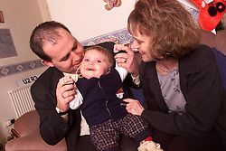 Alison Sherman with her son Harry, at their home in colchester..Feature on Brainwave, a charity that has been set up to treat brain injured children with a programme of individually designed exercises., United Kingdom, December 5, 2000..Photo by Andrew Parsons/i-Images..