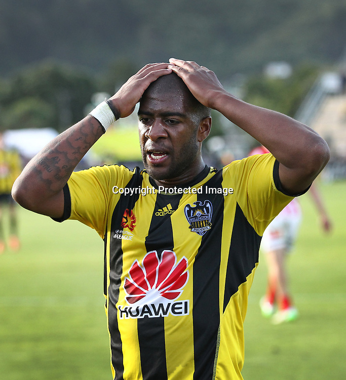 Phoenix' Roly Bonevacia shows his frustration during the A-League football match between the Wellington Phoenix & Melbourne City, at the Hutt Recreational Ground, Wellington, 14 February 2015. Photo.: Grant Down / www.photosport.co.nz