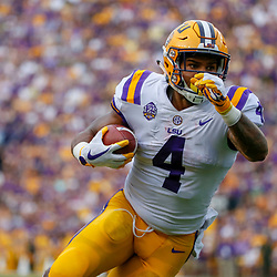 Sep 8, 2018; Baton Rouge, LA, USA; LSU Tigers running back Nick Brossette (4) against the Southeastern Louisiana Lions during the first quarter of a game at Tiger Stadium. Mandatory Credit: Derick E. Hingle-USA TODAY Sports