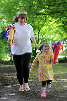 Kerry Clare, Isobel Clare, 3, The Olympic Torch Relay passes through Hatfield, Herts,