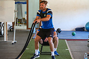 Forest Green Rovers Scott Laird(3) having a gym session during the Forest Green Rovers Training session at Browns Sport and Leisure Club, Vilamoura, Portugal on 24 July 2017. Photo by Shane Healey.