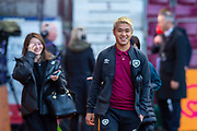 Ryotaro Meshino (#77) of Heart of Midlothian FC is all smiles as he arrives before the Ladbrokes Scottish Premiership match between Heart of Midlothian and Rangers FC at Tynecastle Park, Edinburgh, Scotland on 20 October 2019.