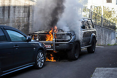 Auckland-Land Cruiser fire in Eden Terrace