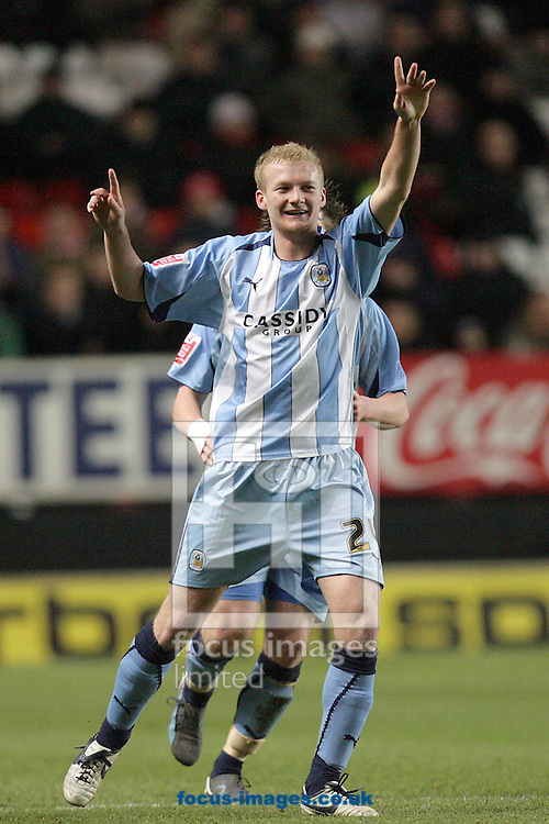 London - Tuesday December 8th, 2008: Robbie Simpson of Coventry City celebrates his goal during the Coca Cola Championship match at The Valley, London. (Pic by Mark Chapman/Focus Images)