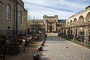 The walkway entrance Malmaison Hotel in Oxford Castle Quarter, England, United Kingdom.  The boutique hotel is in a converted prison in a medieval castle in one of the oldest, busiest and trendiest parts of the city.  (photo by Andrew Aitchison / In pictures via Getty Images)